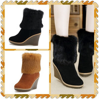 Free Shiping 2013 New Fashion Boots 100% Genuine Leather Women Boots With High Heels Black Boots For Women Big Size Pumps