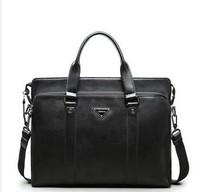Free Shipping Sammons Cowhide Elegant Black Shoulder Handbag Dual-use Messenger Bag Laptop Bag Commercial Genuine Leather  Bag