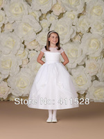 2013 New Arrives Organza and Satin A-line lace Kids Dress Up Girl Flower Dress