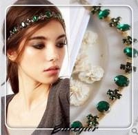 Shopping festival New arrival beautiful rhinestone cross Emerald acrylic gem stone headbands hair jewelries Free shipping !