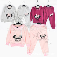 2014 New Style Lace Pockets Bowknot Decor Comfortable Girls 2-Pieces Outfit Children Suit Summer Winter Clothing with Hat