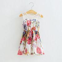 2014 New,girls floral princess dress,children summer vest dress,lace embroidery,1-6 yrs,5 pcs / lot,wholesale kids clothing