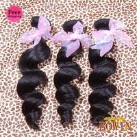 Indian Virgin Hair Loose Wave 3pcs Free Shipping By DHL,Grade 6A,1B Natural Color 100% Human Hair Weaving