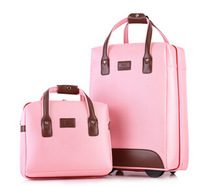 Free shipping women trolley luggage travel sets boarding password box female 12 and 20 inch twinset