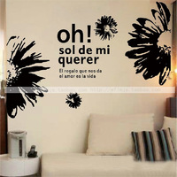 Free Shipping Large African Daisy Flowers Wall Stickers Decors Covering Decal Vinyl Sticker Home Decoration 22 colors wfs010