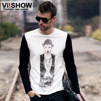 viishow2013 Autumn new long-sleeved round neck t-shirt printing head men Men Slim Long T-shirt tide male T-shirt