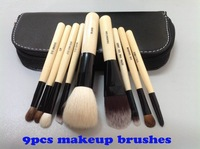 Wholesale HOT  SELL Cosmetic Makeup Brushes 9 Pieces Make Up Tool with Leather Pouch Free Shipping