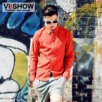 viishow2013 Autumn new long-sleeved shirt men cultivating long-sleeved shirt Europe crisis point men's shirts