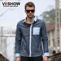 Brand men's long sleeve shirt tide Mission viishow Hitz casual long shirt Slim Square Neck Solid