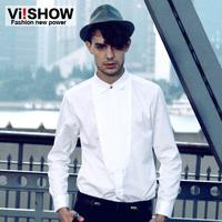viishow2013 white shirt Hitz European and American fashion men's shirt men shirt Slim Tops