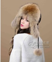 New arrival 2013 women's winter fur fox fur hat white lei feng cap full leather real fur