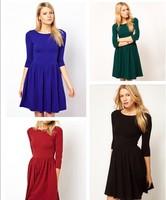 2013 New Arrival Round Collar Half Sleeve High-waist Women Dress Plus Size XL Free Shipping