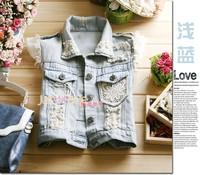 Free shipping 2014 fashion short lace beading jean vests jacket women, turn-down collar waistcoat, sleeveless denim vest women