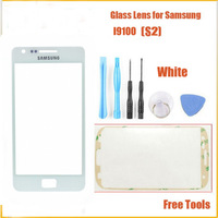 Replacement WHITE for samsung galaxy S2 SII glass lcd touch screen digitizer front lens i9100 free shipping + sticker + tools