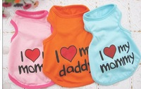Free shipping new style pet dog clothing dog vest cotton materials I love mommy/daddy #H0247