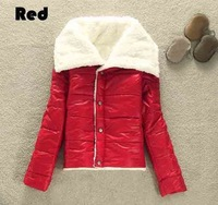 Glint Glossy Graceful Bright Hot 3 Colors 2013 Tops Women's Fashion Big Lapel Winter Warmer Lambs Wool Jacket Outwear Coat