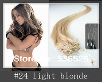 "Hair Extensions  #24 Light Blonde 12""-24 inch Peruvian  Straight hair  Micro Loop Ring Human 1g/strand"