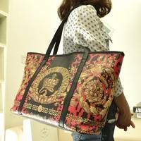 Free shipping Bags national trend print bag flower women's handbag shoulder bag big bags  women's handbag