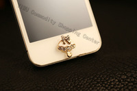 Home Button Sticker, Gold Plated Rhinestone Umbrella Bowknot  Sticker,Mobile Phone Decoration For IPhONE 4s/4/5 IPad ITouch