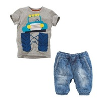 NEW 2014 free,3sets/lot, kids boy clothing car set, short sleeve t-shirt + jeans, boy 2 pcs, children clothes, cowboy suit