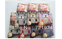 Free Shipping 4pairs/lot Autumn-Winter children  wool cartoon  bear  socks baby warmers random delivery