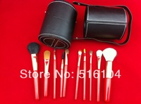 Free Shipping! black red Wholesale Professional 1Set/lot New 100% new 10 pcs/Set Pro Cosmetic Makeup Brushes Set Make up Tool