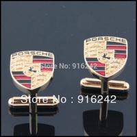 High Quality Gemelos Juegos De Gemelas Mellizos Gold Engraved Car Emblem Cufflinks