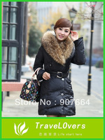 2013 New Fashion Women's Large Real Fur Collar Slim Medium-Long Down Coat Warm Winter Clothing Jacket outerwear FREE SHIPPING
