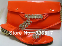 Free Shipping By DHL! high quality lady Italian matching shoe and bag set for wedding and party in wholesale,1900 orange