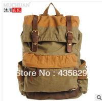 2014 HOT:Fashion vintage  man bag canvas backpack women's school bag color block bag large capacity travel bag