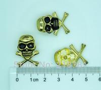 40 Sets Antique gold Skull Crossbone Spike Punk Rock Rivet Studs Spots 24mmx17mm 7mm for Bag Leather Clothes