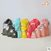 Waterproof lucky tote travel drawstring storage bag classification shoes finishing laundry bag Bean bag Four Size 4pcs set E