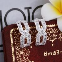 S1925 Sterling Silver Zircon Hoop Earrings Jewelry box  Men Women Christmas GIFT Drop shipping