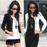 Guarantee 100% 2013  Spring& Autumn Women's Slim Blazers Round Collar Long Sleeve OL joker Hot Drilling short coat cotton Jacket