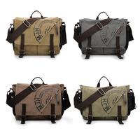 Vintage Canvas Men School Military Shoulder Bag Messenger Bag bookbag 1303