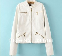 2013 British Style Metal Zipper Decoration Bright White PU leather Jacket