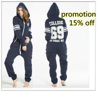 2014 Jumpsuit Women Unisex Plus Size Digital Print Overalls Zipper Hoodies Romper hippot Stree Sportsuit Macacao Feminino