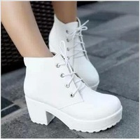 2014 New White Black Fashion High-heeled Boots Platform Thick heel Vintage Women's Shoes Ankle Martin Boots