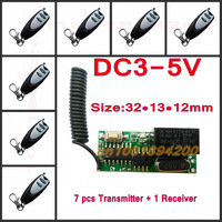 3v 3.7v 5v RF Remote Control Switch Mini Receiver + Mini 7 Transmitter Learning Code Momentary Toggle Latched Adjustable
