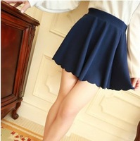 Free shipping,2013 new autumn summer wave edge College Wind sundress umbrella skirt high waist skirts women short skirts