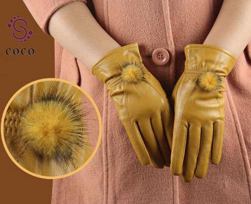 2013 Women's leather gloves winter fashion warm mink ball sheepskin leather gloves(China (Mainland
