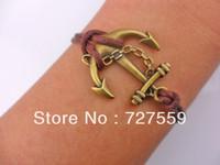 (Min Order $7) Charms Antique Bronze Karma Anchor Brown Cotton Rope Men & Girl Bracelet Gift Fashion Women Jewelry Free Shipping