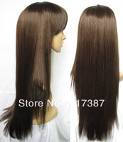 NEW Women's Synthetic Wig Stylish Long Straight Brown Wig Brown Full Head Wigs for Women K6