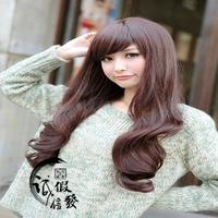 Wig female long  hair oblique bangs straight hair elegant ol pear bobo fashion high temperature
