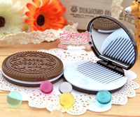 Chocolate biscuits makeup mirror folding mirror girls carry  makeup tools necessary Comb Mirror Beauty Mirror Mirror cute