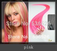 "brazilian virgin hair Pink 22""24""loop hair extensions Loop Ring Human Hair Extensions 1g/strand 100 shares Cheap remy remy hair"