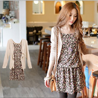 DOUBLE HOODIE COTTON CARDIGAN+PRINTED HALTER TOP Cute Lady  Dress  W1298