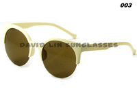Only Sunglasses Free Shipping New Unisex Designer Semi-Rimless Super Round Circle Cat Eye Retro Sunglasses-52104