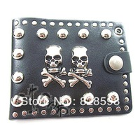 Hot  sale Hip  hop Personality lovers skull personality rivet pirate 100% male genuine leather short wallet design