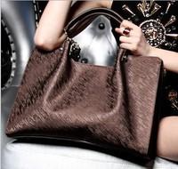 Fashion Star Style Bags 2013 Women's Genuine Leather Handbag Real Natural Cowhide Famous Brands Embossed Handbag Designer Brands